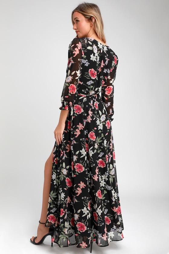 24b7779506e Stunning Floral Maxi - Black Floral Maxi Dress - Chiffon Maxi