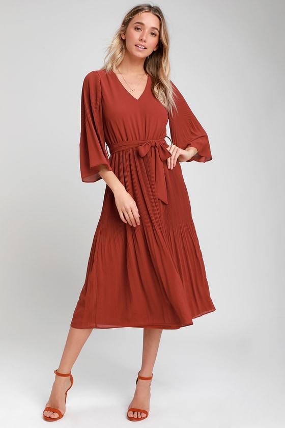 5f33f7b745 Chic Rust Red Dress - Midi Dress - Pleated Midi Dress