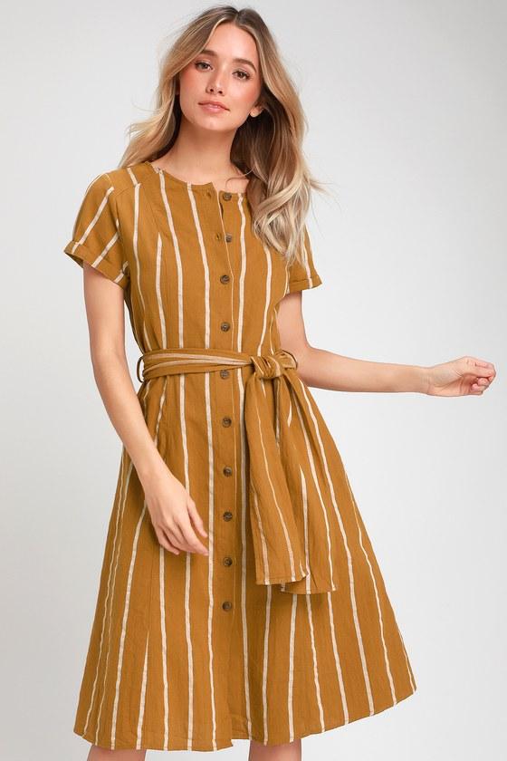 5b34e4e4a0d7 Cute Shirt Dress - Midi Dress - Mustard Yellow Dress - Midi Dress