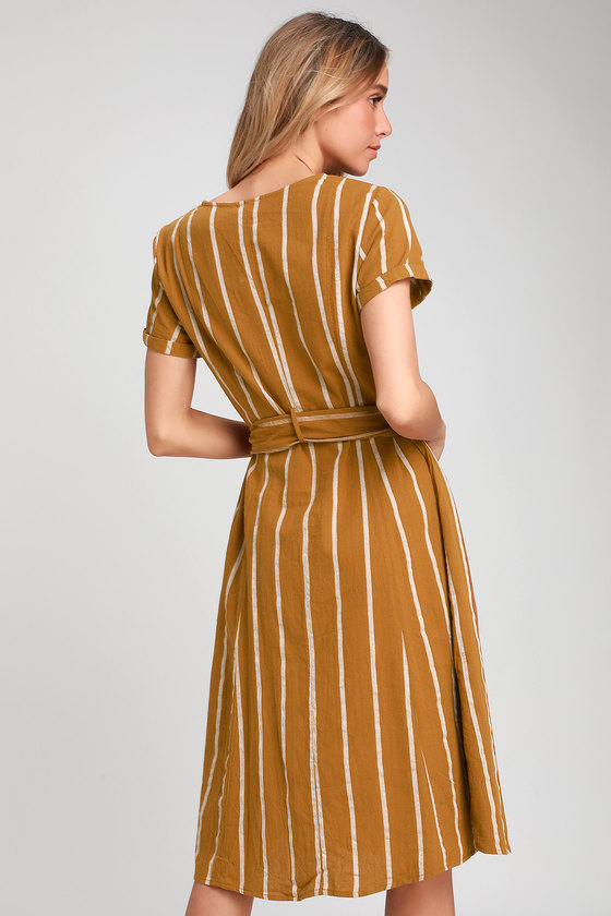 10bb954f02d Cute Shirt Dress - Midi Dress - Mustard Yellow Dress - Midi Dress