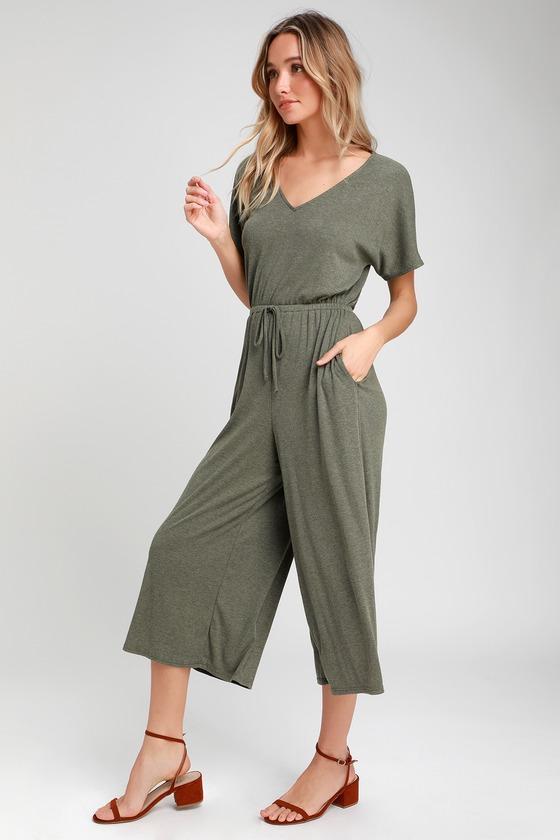 50ab9b134d0c Cute Green Jumpsuit - Ribbed Jumpsuit - Short Sleeve Jumpsuit