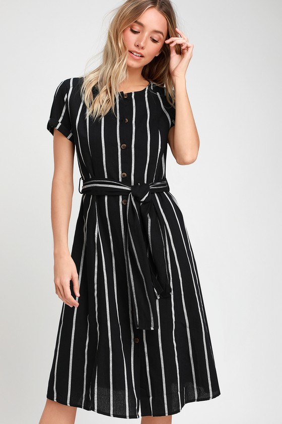 various styles great discount sale online here Epitome Black Striped Midi Shirt Dress