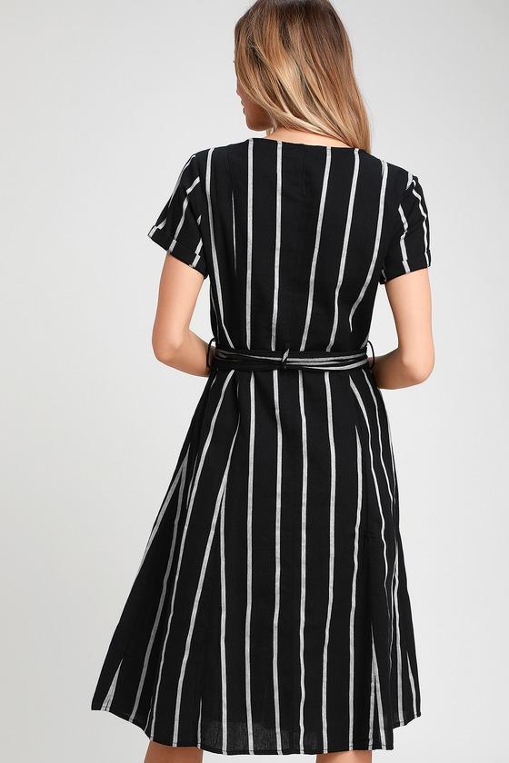401ce35b7e2 Cute Shirt Dress - Midi Dress - Black Striped Dress - Midi Dress