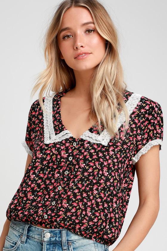 Women's 70s Shirts, Blouses, Hippie Tops The Ana Black Floral Print Button-Up Top - Lulus $68.00 AT vintagedancer.com