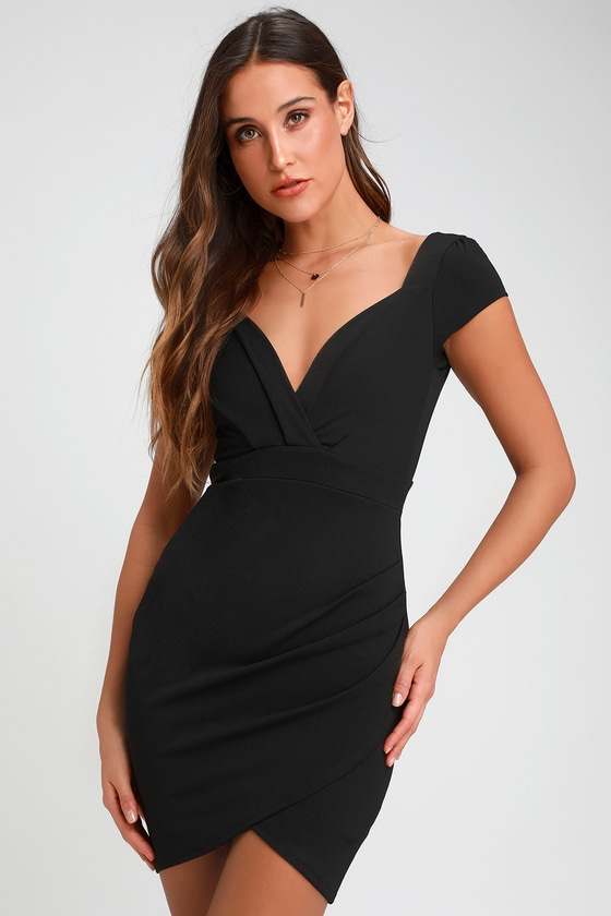 c6e2777657 Cute Black Dress - Bodycon Dress - Short Sleeve Dress - LBD