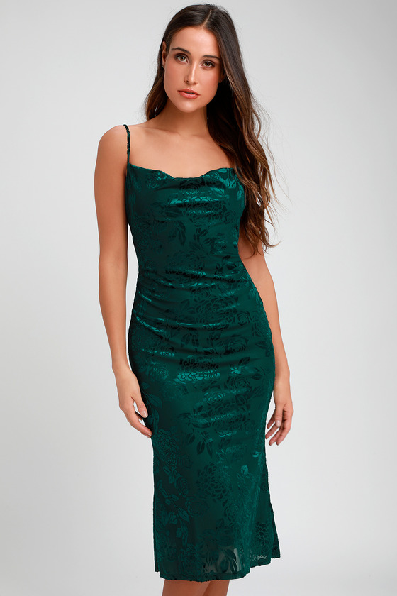 72dd84998790 Chic Green Midi Dress - Burnout Velvet Dress - Trumpet Dress