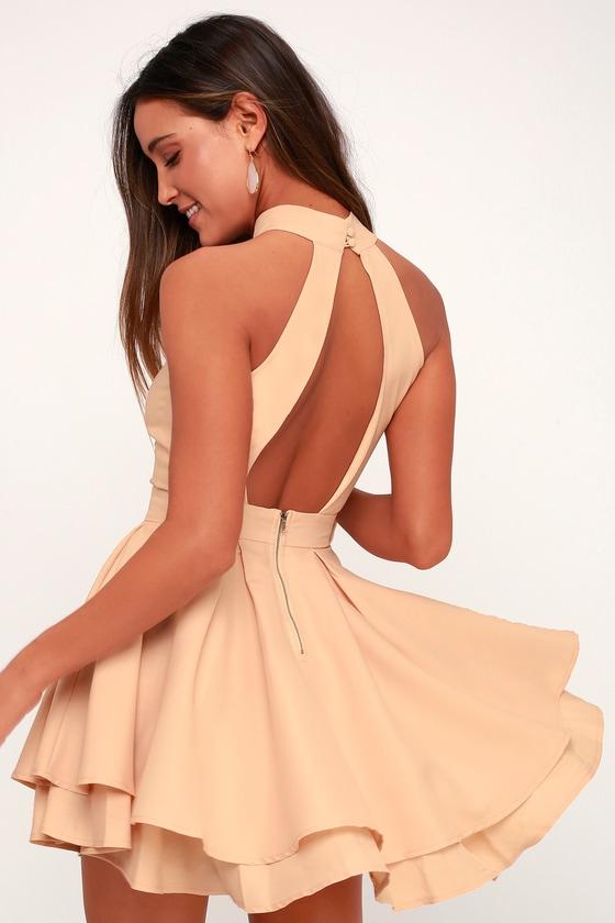 709f564f84 Cute Peach Skater Dress - Peach Homecoming Dress