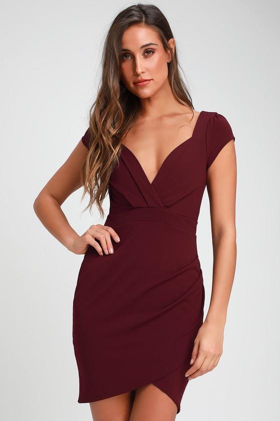 3abba83508 Cute Plum Purple Dress - Bodycon Dress - Short Sleeve Dress