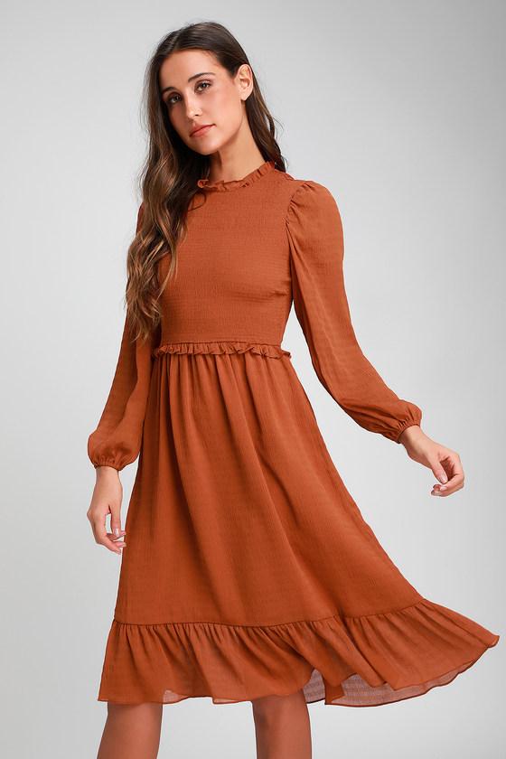 70s Dresses – Disco Dresses, Hippie Dresses, Wrap Dresses Whenever Im With You Rust Orange Smocked Long Sleeve Midi Dress - Lulus $64.00 AT vintagedancer.com