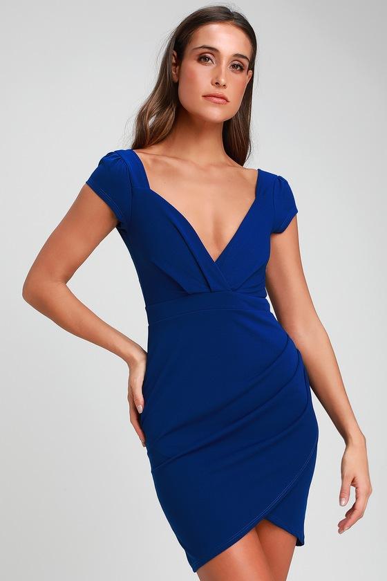 16b021190205 Cute Royal Blue Dress - Bodycon Dress - Short Sleeve Dress
