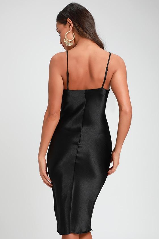 927c6bdb6853 Sexy Black Dress - Satin Dress - Satin Midi Dress - Midi Dress
