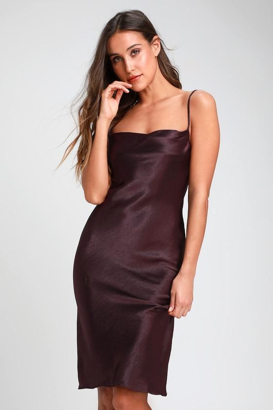 74ce1d91358 Sexy Dark Purple Dress - Satin Dress - Satin Midi Dress