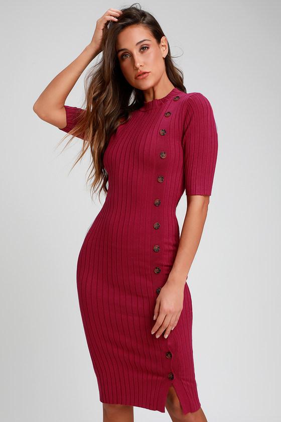 43c91ef998e99 Cozy Berry Pink Dress - Ribbed Dress - Bodycon Midi Dress - Dress