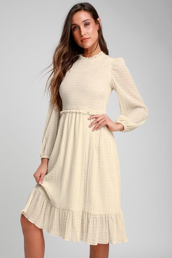 70s Dresses – Disco Dresses, Hippie Dresses, Wrap Dresses Whenever Im With You Cream Smocked Long Sleeve Midi Dress - Lulus $64.00 AT vintagedancer.com