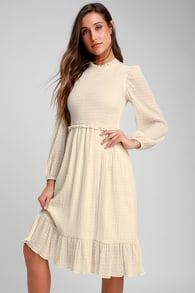 whenever im with you cream smocked long sleeve midi dress