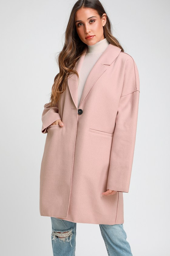 History of 1920s Coats, Furs and Capes Renaldi Dusty Blush Coat - Lulus $72.00 AT vintagedancer.com