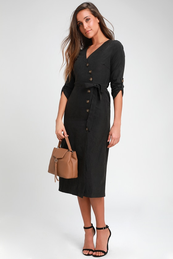 7356a156406 Chic Washed Black Dress - Button-Up Dress - Mid Dress - Dress