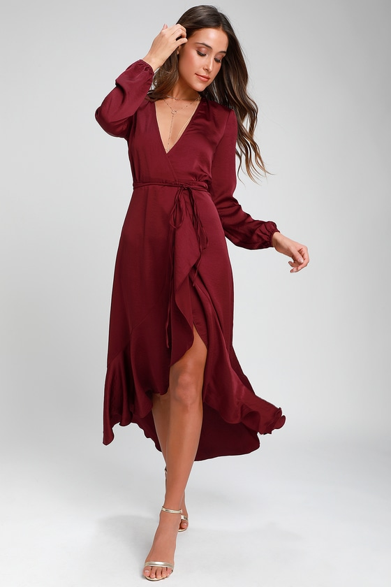 303bc5a9fff1 WAYF - Burgundy Satin Dress - Satin Wrap Dress - Satin Midi Dress