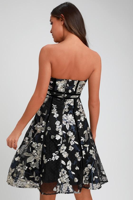 69efb4a5c652 Black Dress - Strapless Dress - Embroidered Dress - Midi Dress