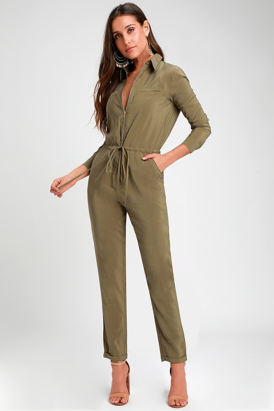 658a05b933f9 Washed Olive Green Jumpsuit - Long Sleeve Jumpsuit - Jumpsuit
