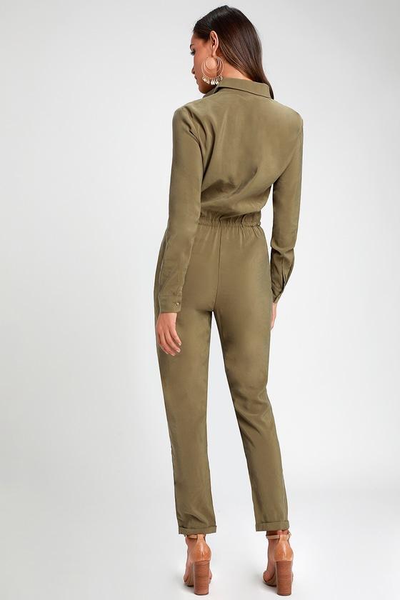 37c84e81aa71 Washed Olive Green Jumpsuit - Long Sleeve Jumpsuit - Jumpsuit
