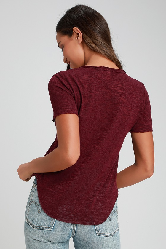 a1f25a1af6 Project Social T Here and Now - Burgundy Tee - Burnout Tee