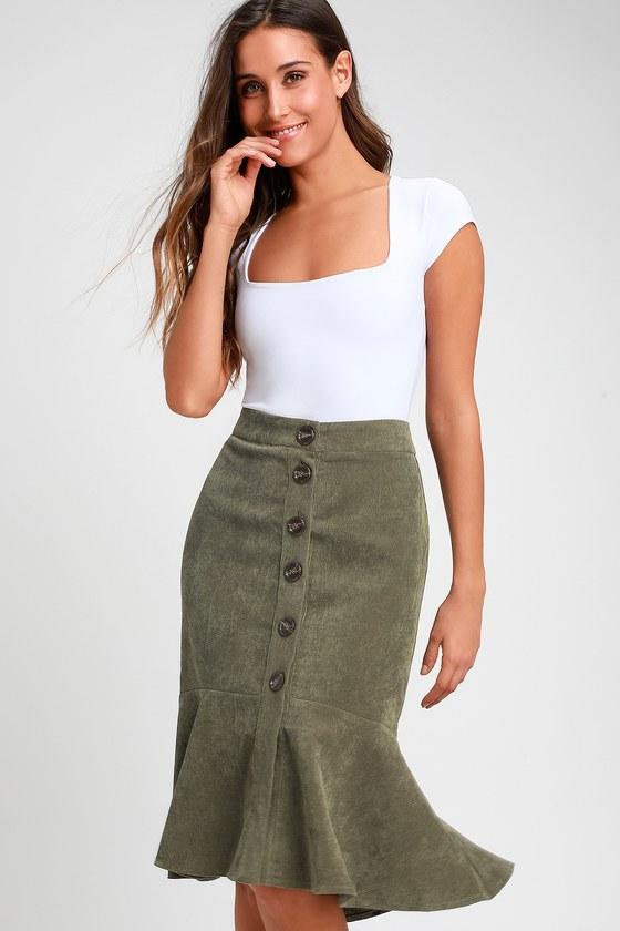 8c149c8ef0 Cute Olive Green Skirt - Corduroy Skirt - Green Midi Skirt