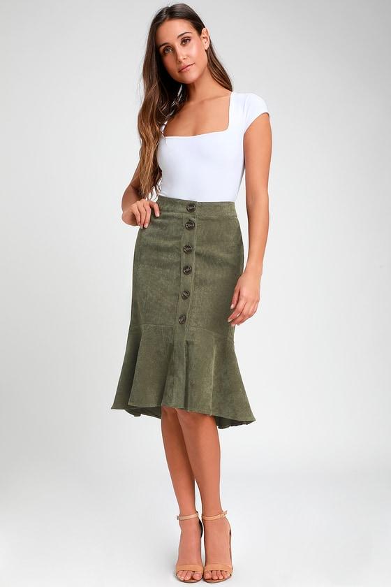 2690850b956a4d Cute Olive Green Skirt - Corduroy Skirt - Green Midi Skirt