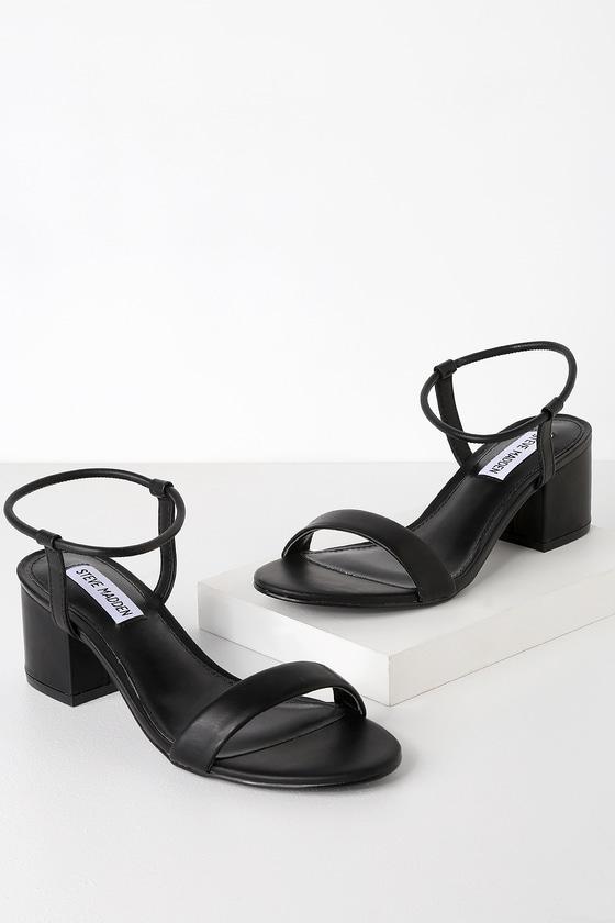 3cec99929ea Steve Madden Ida - Black Ankle Strap Heels - Low Block Heels