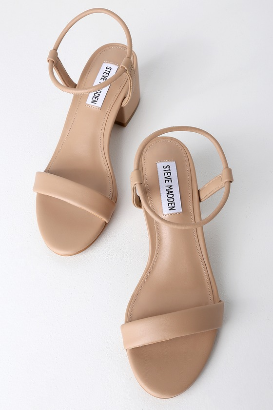 68c9e384b42 Steve Madden Ida - Natural Ankle Strap Heels - Low Block Heels