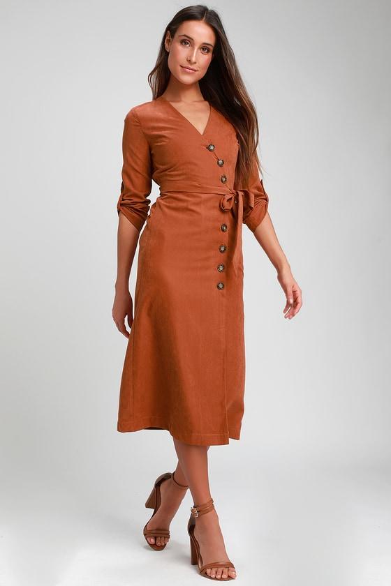 1fc8e5f34dc Chic Terracotta Dress - Button-Up Dress - Mid Dress - Dress