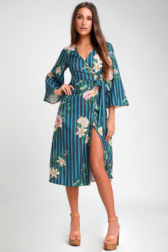 28a59d303d78 Cute Blue Dress - Striped Dress - Floral Print Dress - Wrap Midi