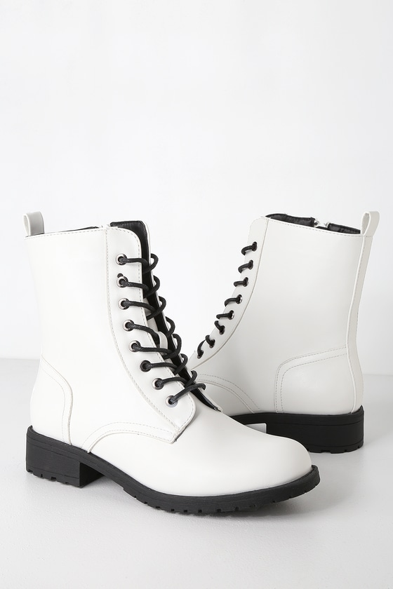 0f7eead098aeb Cute White Boots - Combat Boots - White Combat Boots
