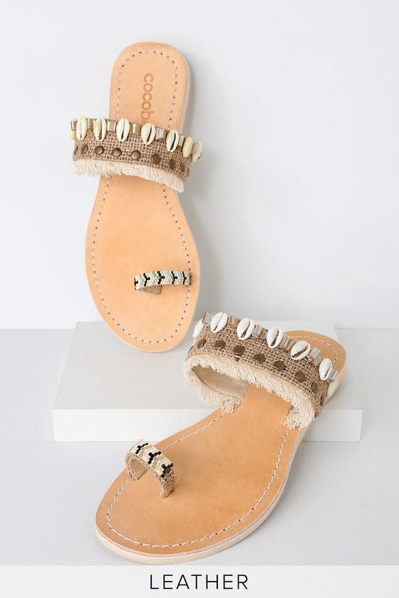 e5d0f3790693 Cocobelle Senegal Arid - Beige Flat Sandals - Seashell Sandals