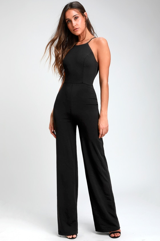 free delivery cheap for discount exceptional range of colors Aniyah Black Wide-Leg Halter Jumpsuit
