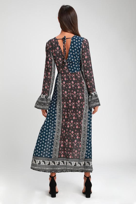 9629613242b97 Boho Dark Blue Print Maxi Dress - Print Long Sleeve Maxi Dress