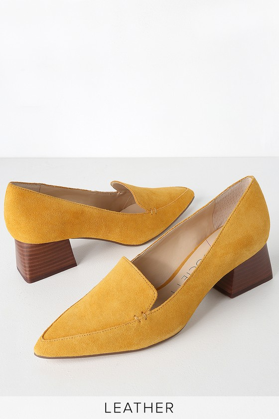 a2747bb78d0 Sole Society Mavis - Yellow Loafers - High Heel Loafers