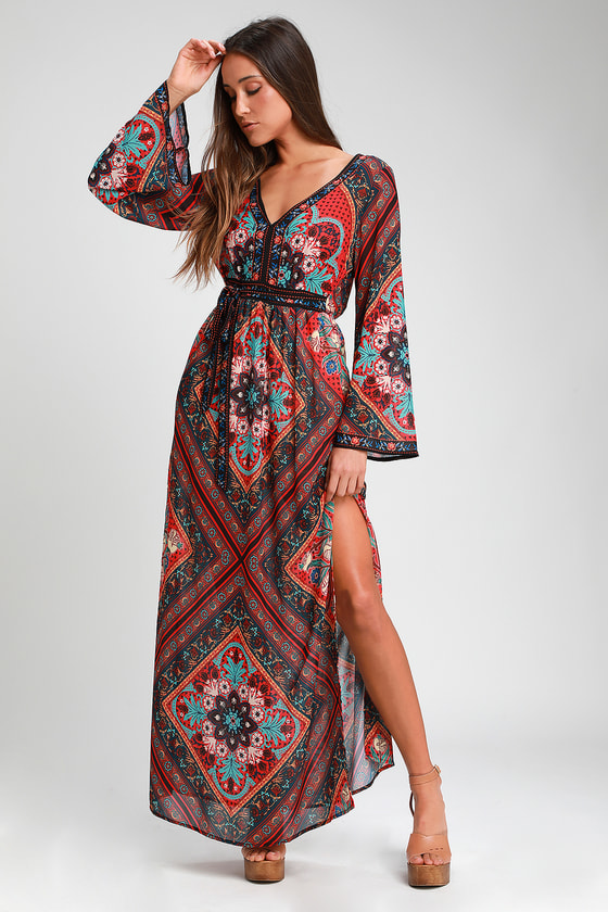 SERENADE RED MULTI PRINT BELL SLEEVE MAXI DRESS