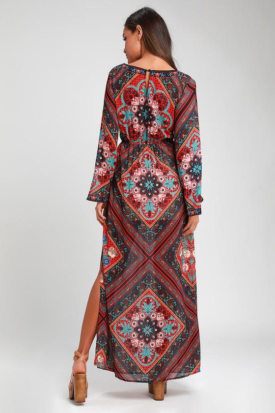 7f4898322 Boho Maxi Dress - Red Print Maxi Dress - Long Sleeve Maxi Dress
