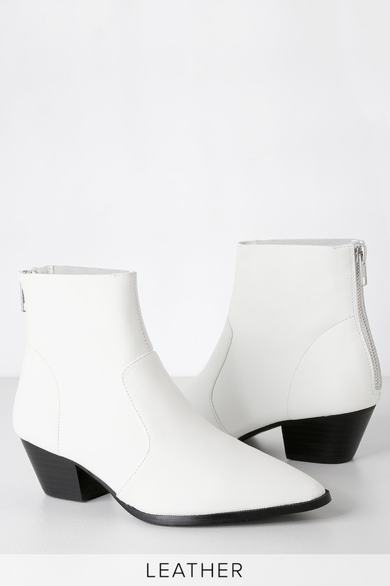 f1dcb9ed610 Cafe White Leather Ankle Booties