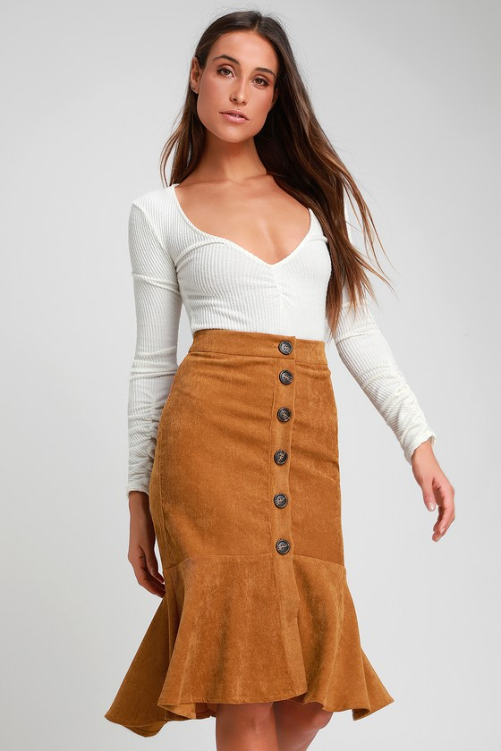 7249dcefc8 Cute Camel Skirt - Corduroy Skirt - Midi Skirt