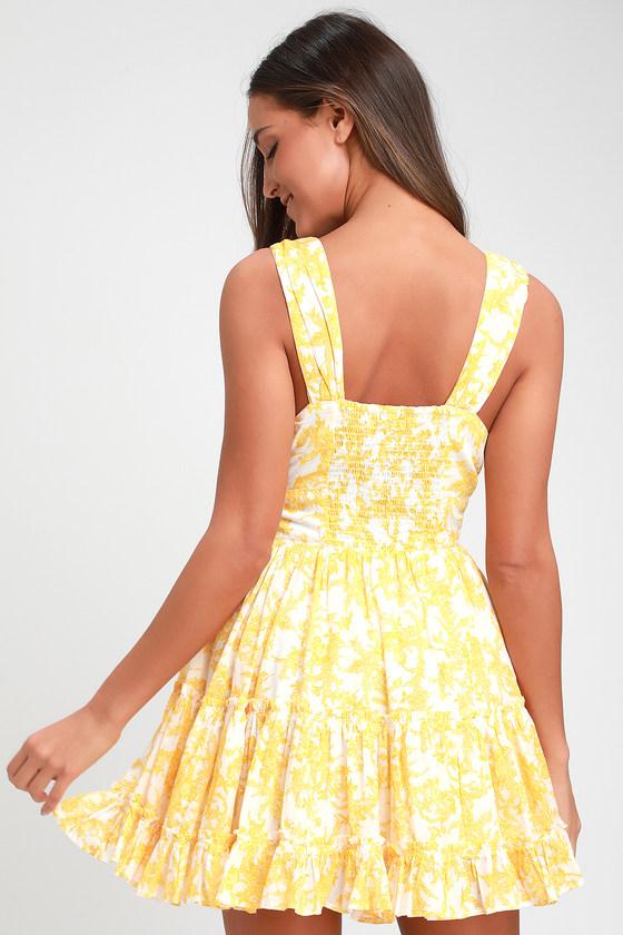 002afcaa6564 Free People Dance On the Blacktop - Yellow Dress - Mini Dress