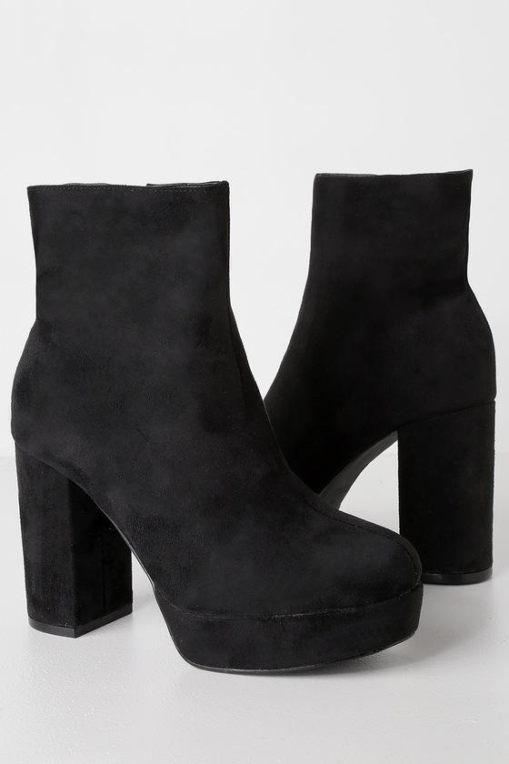 Cute Black Booties Platform Booties High Heel Booties
