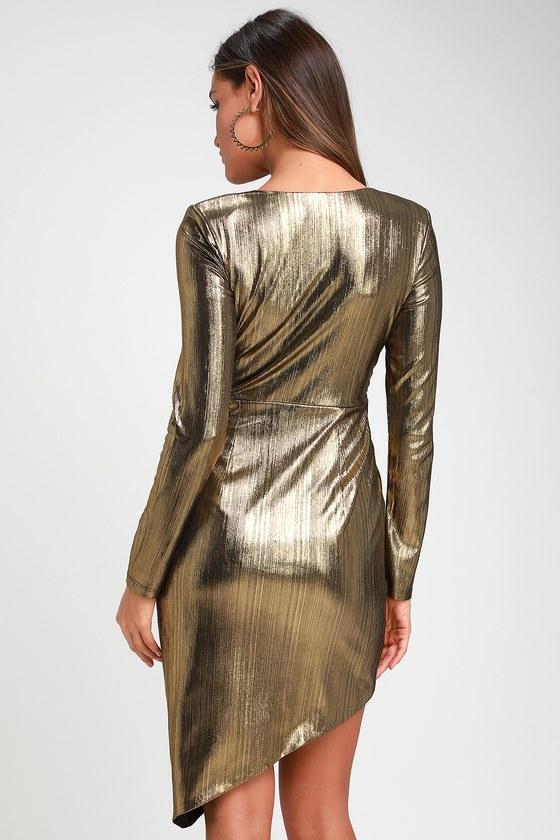 Gold Long Sleeve Mini Dress