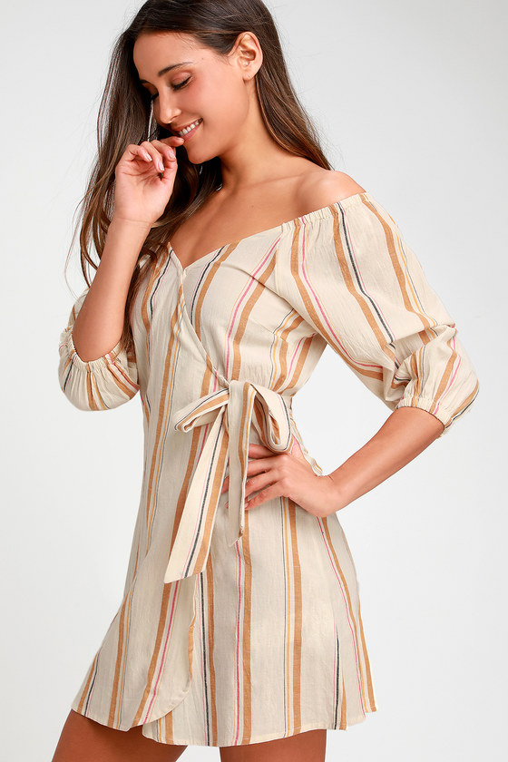 1879b19e39ca6 Billabong Best Dressed - Beige Striped Dress - Wrap Dress - Dress