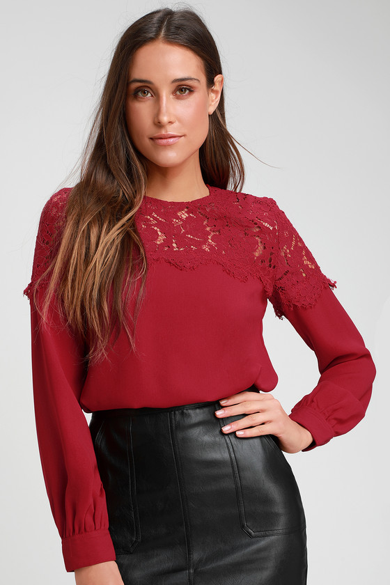 Picture This Dark Red Long Sleeve Lace Top