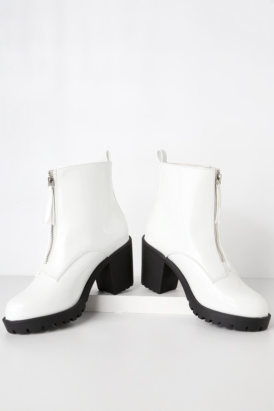 Cool White Patent Boots - Zippered Ankle Boots - Chunky Boots a9a2e6df0f8c