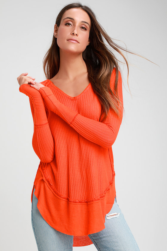 4f6108e241 Free People Catalina - Orange Long Sleeve Top - Thermal Shirt