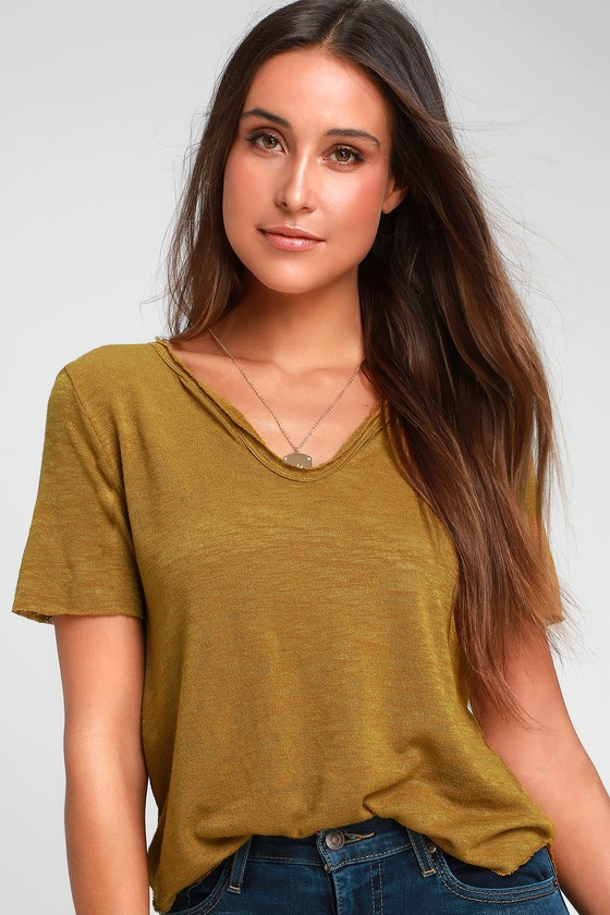 301162dab0 Project Social T Here and Now - Mustard Yellow Tee - Burnout Tee