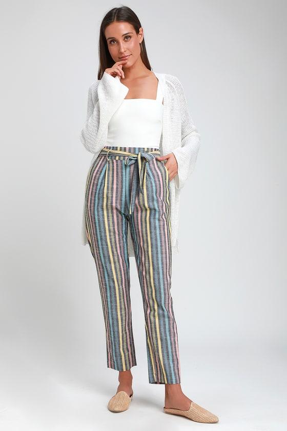 Breezy Black Multi Striped Pants Linen Pants Belted Pants